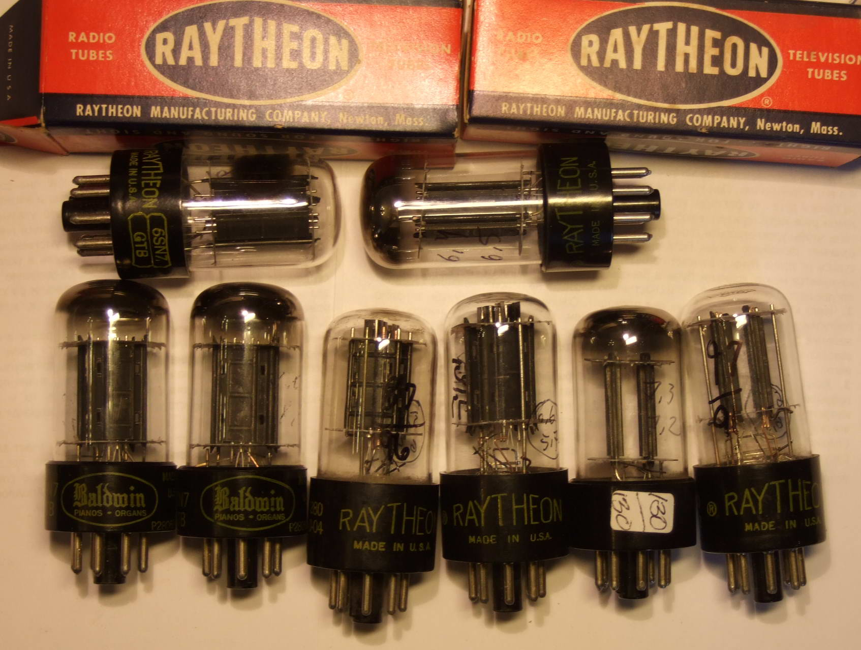 двойной триод 6SN7GTB Raytheon USA NOS Raytheon